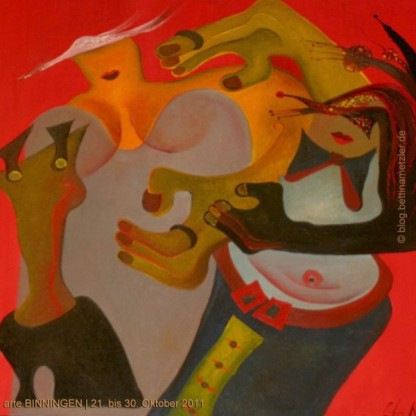 Gemälde von Ruth Kissling de Bâle | Titel: 1687 - Heinz und Geduld-Tigist, 10. Juni 2005. Öl auf Leinwand, 2005 à Bâle. 100 x 100. Privatbesitz