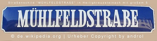 Muehfeld-Straßenschild-Versal-ß
